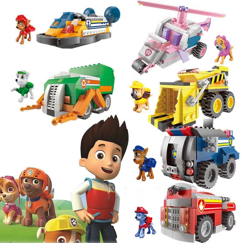 Patrulla canina juguetes de anime para niños coche de juguete bloques de construcción animal perro chico juguete para regalo coche para niños patrulla canina bloque de construcción