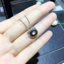 Naturel noir étoile saphir pendentif S925 argent naturel pierre gemme pendentif collier grace belle PigHead fille fête cadeau bijoux