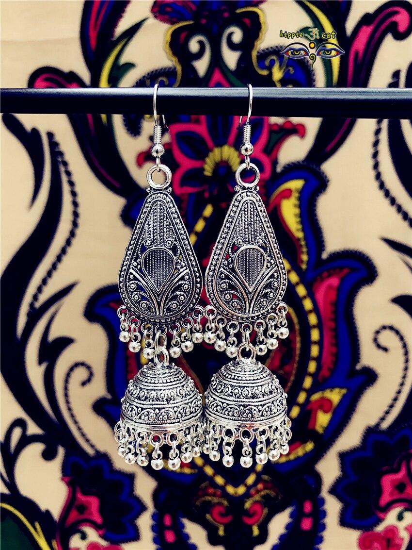 Pendientes de la tribu tailandesa de plata del viento del Oriente Medio pendientes étnicos del viento India Tailandia Nepal pendientes joyería