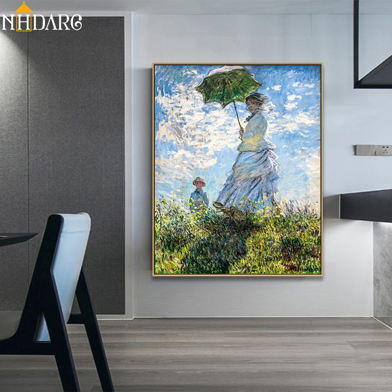 AliExpress - Woman with a Parasol Madame Monet and Her Son by Claude Monet Classic Art Canvas Print Painting Poster Wall Pictures Home Decor