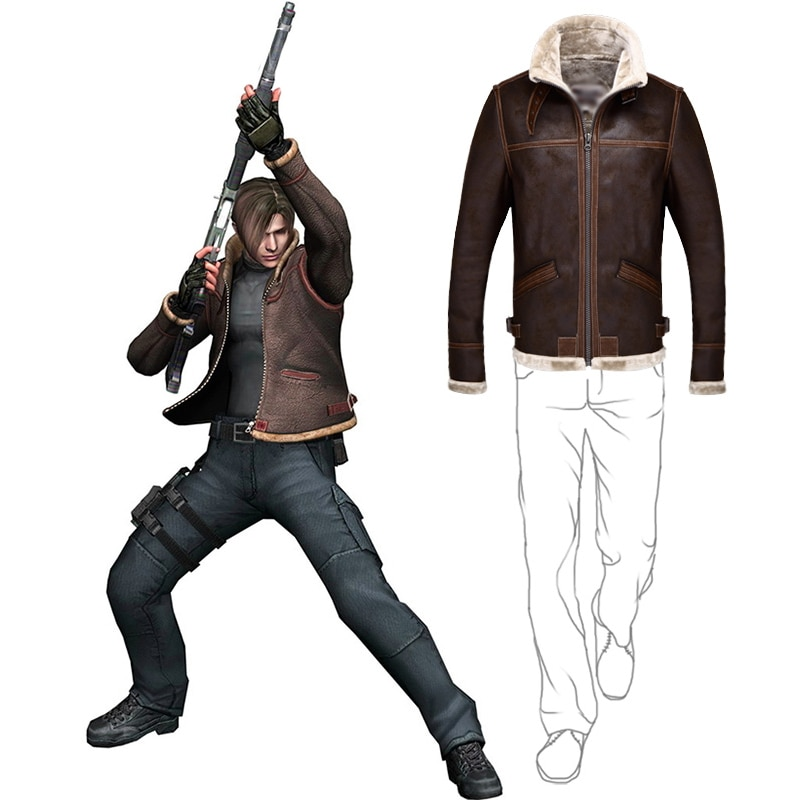 Biohazard Resident 4 Leon S Kennedy Evil Costume Leather Coat Jacket Cosplay PU Faur Jacket Long-sleeve Winter Outerwear Men Boy
