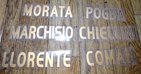 2015-2016 A MORATA MARCHISIO COMAN POGBA CHIELLINI LLORENTE nameset parche