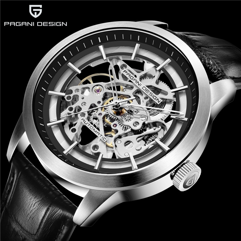 Reloj Mecánico PAGANI de diseño a la moda de lujo para hombre, reloj de esqueleto hueco, reloj de cuero impermeable para hombre, reloj mecánico automático