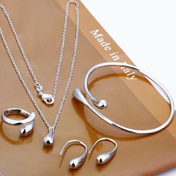 Joyería de moda-S222/gotas grandes promocionales M925 color plata Pulsera collar anillo pendientes para mujer