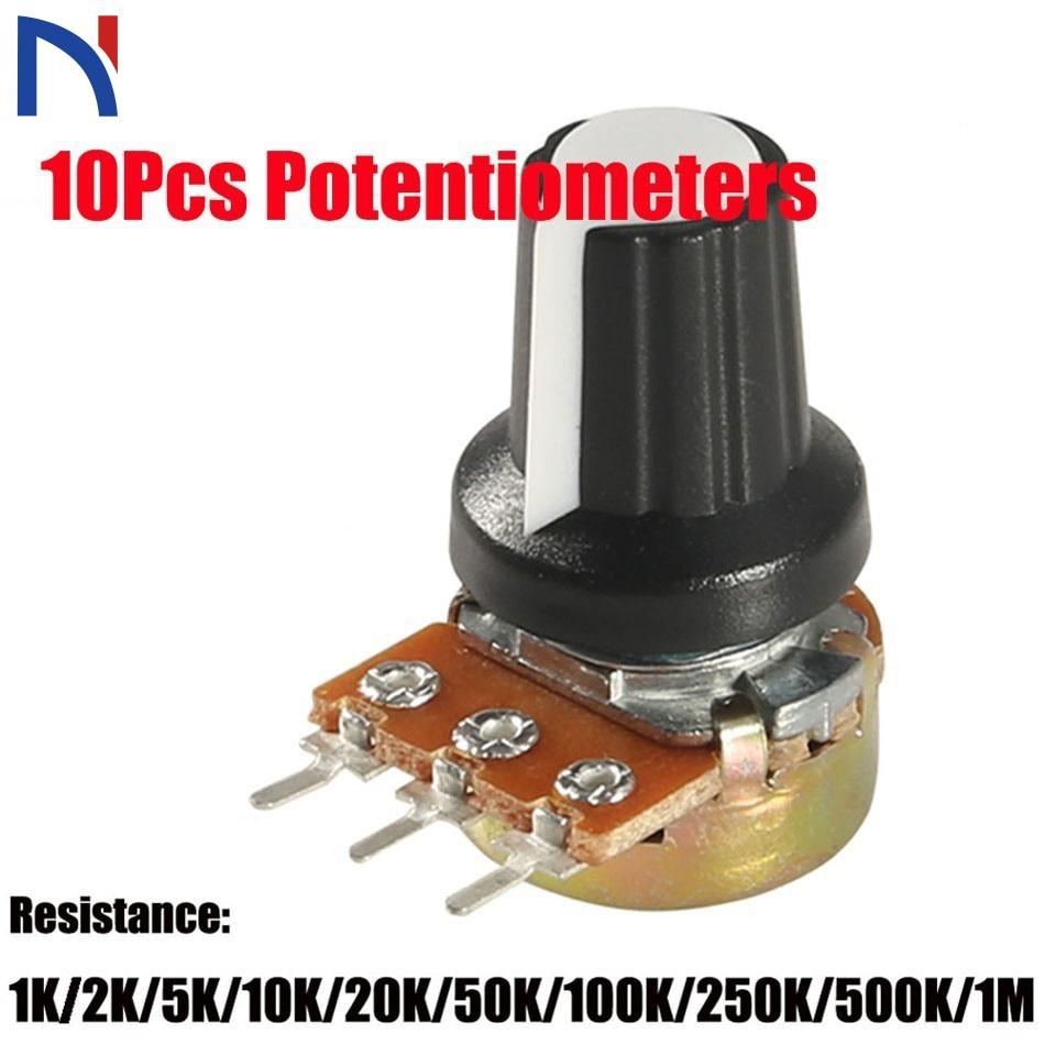 10 Pcs Potentiometer knob 10K 1K 100K 5K 50K OHM WH148 3Pin 15mm Shaft Nut 3 Terminal Linear Taper Rotary B10K for Arduino diy