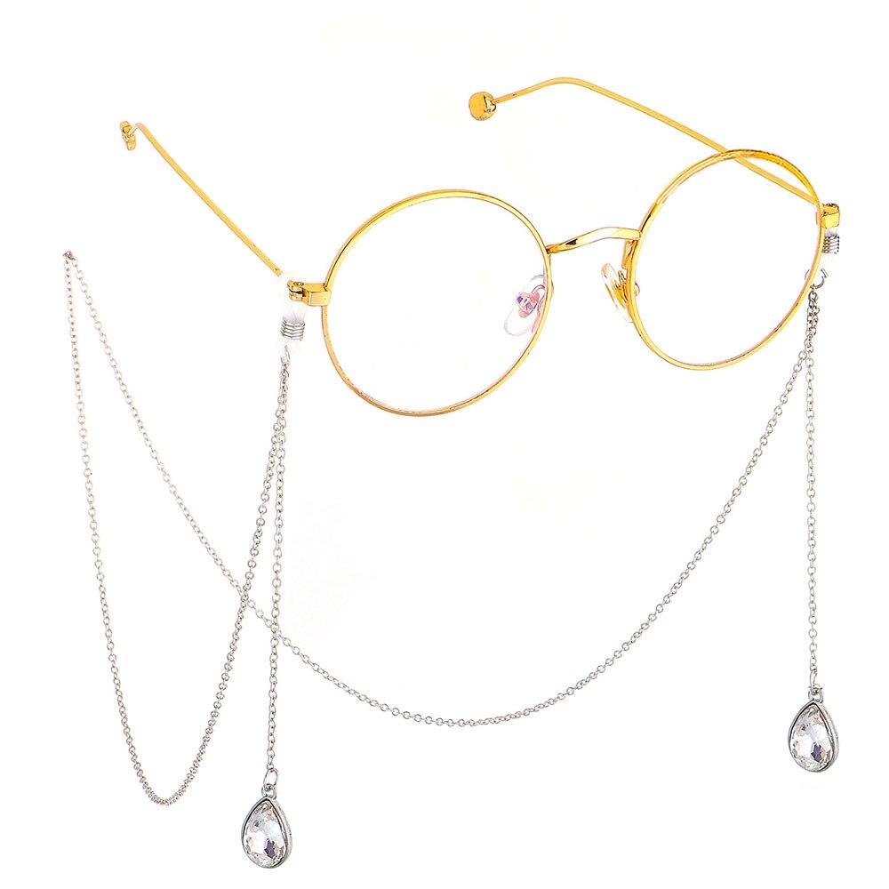 1 pçs 75cm óculos de sol correia colar ouro metal óculos de sol gota de água corrente cabo para óculos de leitura