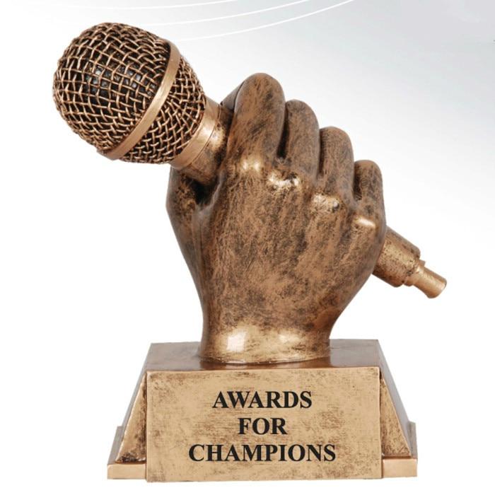 Music vocals voice microphone award trophy resin craft souvenir home halloween christmas decoration