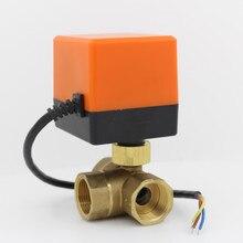 Robinet à bille électrique 3 voies   Robinet à bille en laiton motorisé à 3 voies avec actionneur électrique AC220V DN15 DN20 DN25 DN32 DN40