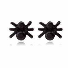Little Black Crystal Small Spider Insect Women Stud Earrings