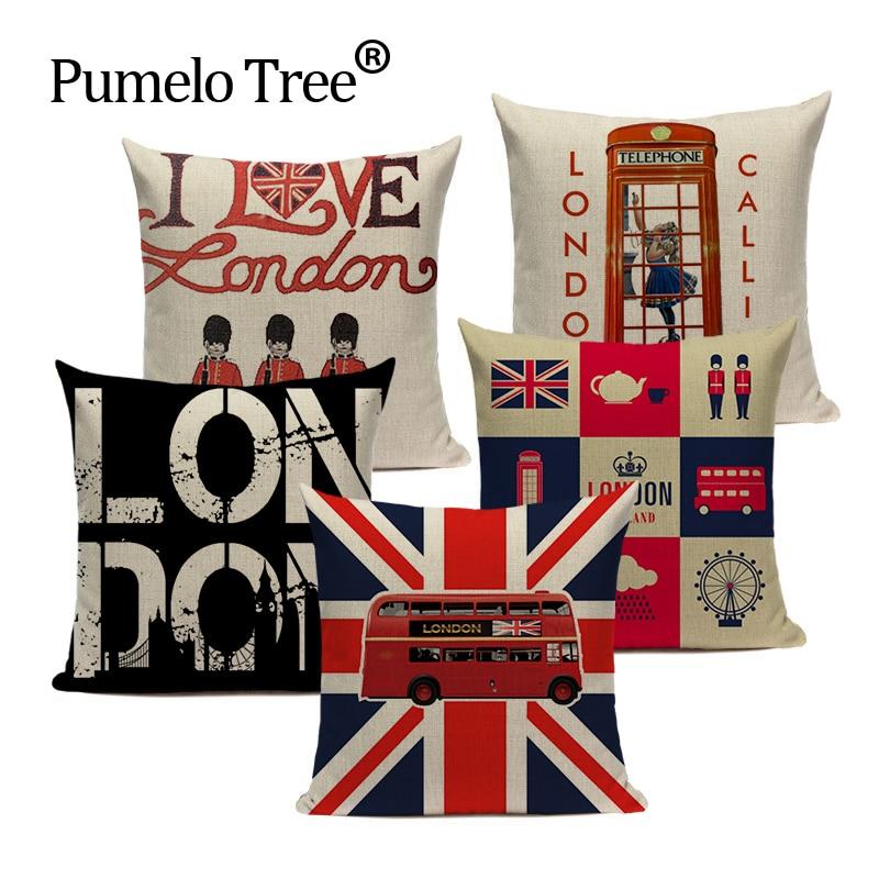 Скандинавские украшения, чехлы на подушки для дома, Лондон, Англия, чехлы для диванов, 45 см x 45 см, на заказ, высокое качество, диван с постельным рисунком, наволочка