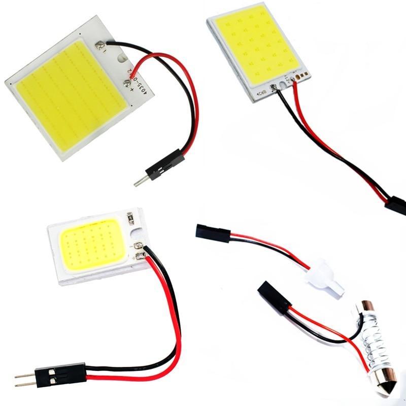 18 24 48 Chips 3W COB LED Auto Dome Panel Licht Car Interieur Leeslamp Dak Lamp Met T10 w5W C5W C10W Festoen 2 Adapter Base