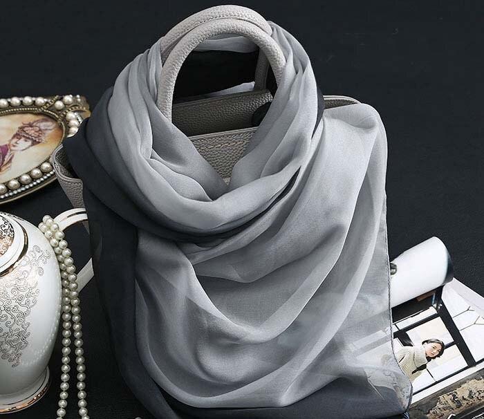 Bufanda de seda de alto grado gradual de Color negro y gris, chal al por mayor para mujeres en primavera y verano, hijab musulmán, bufandas bohemias