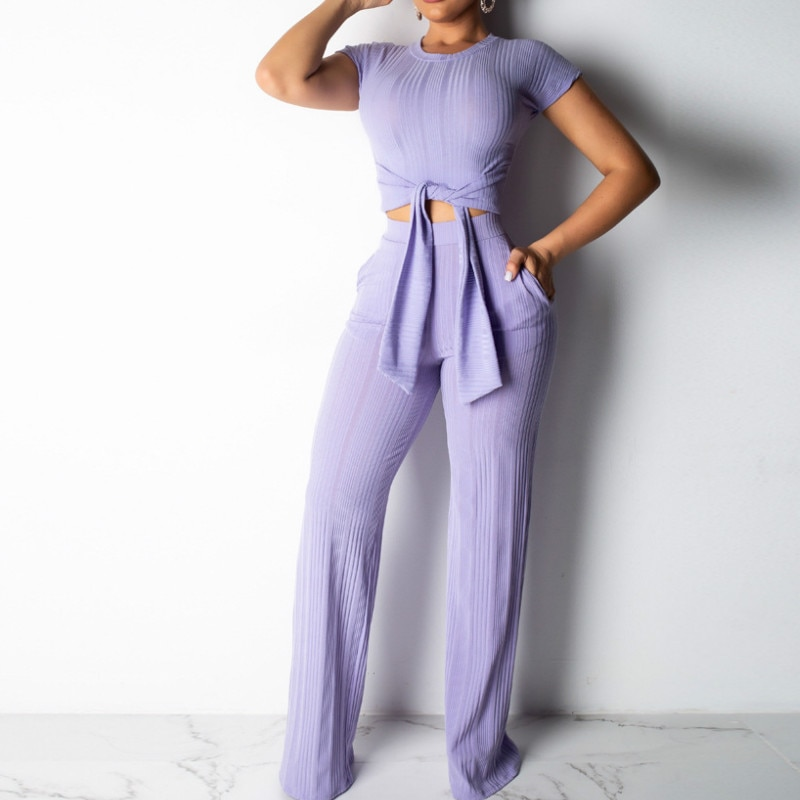 Femmes Clubwear plage vacances 2 pièces ensemble survêtements décontracté Streetwear haut court + large jambe pantalon été 2020 maigre tenues