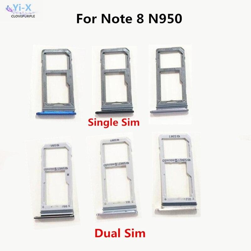 100 unids/lote único/soporte de tarjeta Doble SIM para Samsung Galaxy Note 8 N950 N950F N950FD soporte para tarjeta SIM reemplazo parte