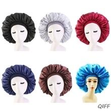 Fashion Lady Sleep Hat Oversize Satin Nightcap Elastic Band Simulation Silk Satin Solid Color Hair Care Cap