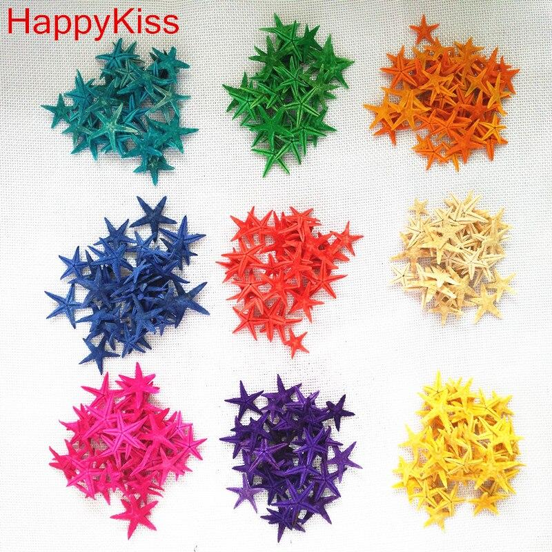 Happy Kiss 20 unids/lote diy natural pequeño concha de estrella de mar a la deriva botella accesorios mini estrella de mar artesanías naturales colores mezcla concha