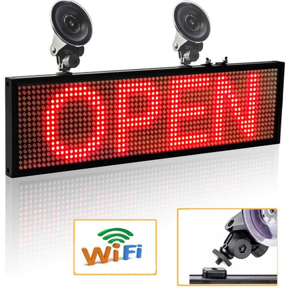 12 В Автомобильные светодиодные знаки панель 34 см P5mm WiFi программируемая прокрутка сообщения светодиодный дисплей Панель SMD СВЕТОДИОДНЫЙ экр...