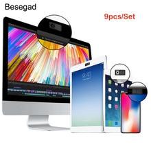 Besegad 9 pièces Assorties Style Universel En Plastique Auto-adhésif Webcam Couverture Diapositive pour PC Ordinateurs portables Ipad Smartphones Tablettes