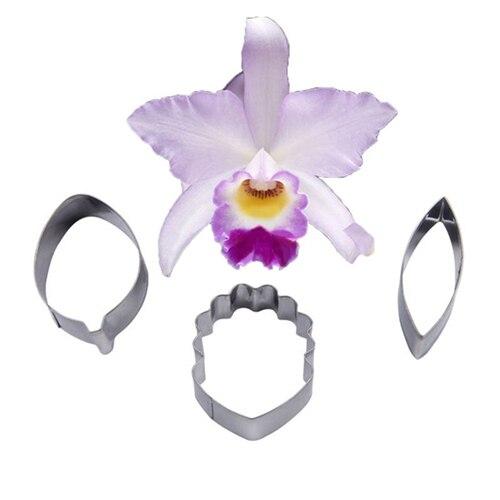 3 Pçs/set Fondant Cortadores de Biscoito Molde Do Bolo Ofício Açúcar Orquídea Dendrobium Pétala de Flor Ferramenta De Cozimento De Decoração