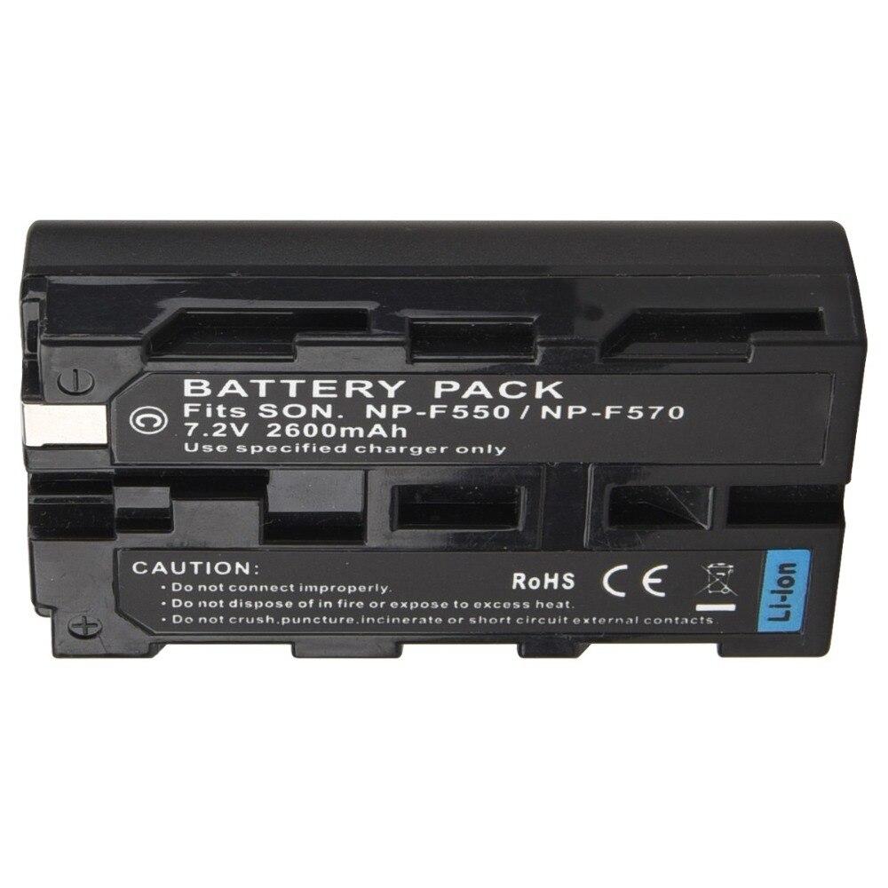1 ud. 7,2 V 2600mAh NP-F550 NP F550 NP-F570 batería de cámara Digital recargable para batería Sony NP-F550 NP-F570