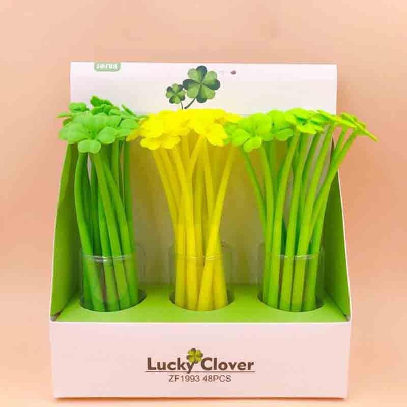 4 Uds Kawaii lindo creativo hojas verdes pluma de Gel novedad silicona coreano escritura bolígrafos canetas escuela suministros papelería