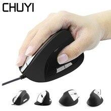 CHUYI filaire souris verticale ergonomique ordinateur de jeu USB optique Mause 1600DPI 6 boutons souris de jeu pour PC Gamer ordinateur portable de bureau