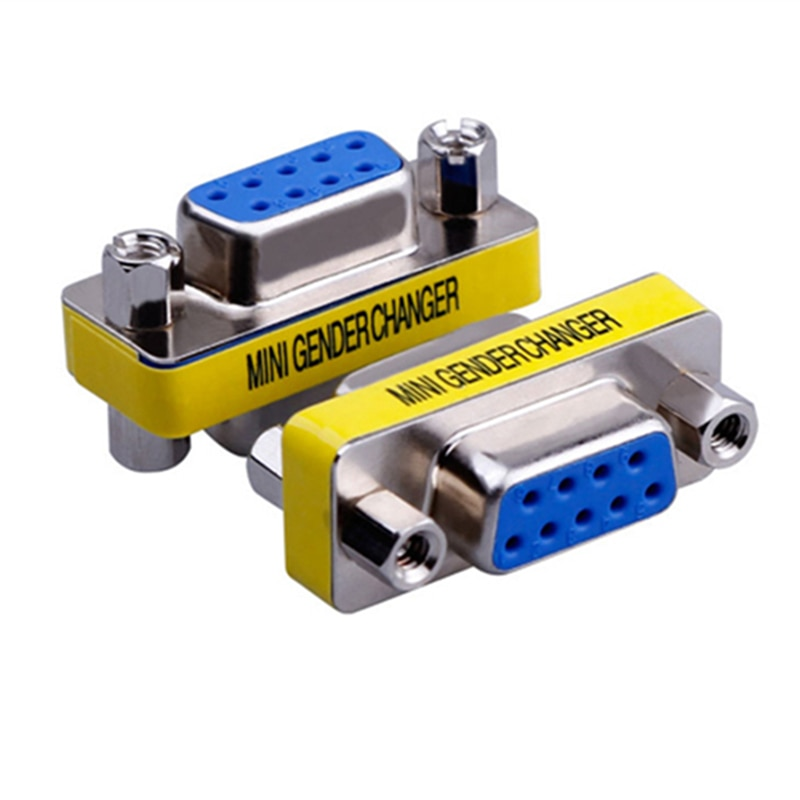 vga 15pin plug connector db15 mini gender changer adapter rs232 com d sub to male female Hot MIni gender changer 9 Pin RS232 DB9 Male to Female Serial Adapter Cable Connector
