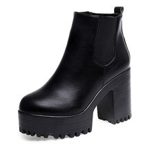 Femmes chaussures plates-formes bottes en cuir talon haut noir bottes dhiver femmes chaussures femme Botas Mujer