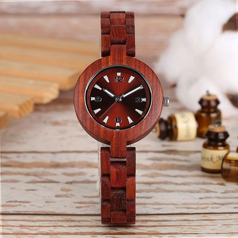 Relojes de madera para mujer de la mejor marca, caja de reloj de cuarzo pequeña y única, reloj de pulsera de madera para mujer