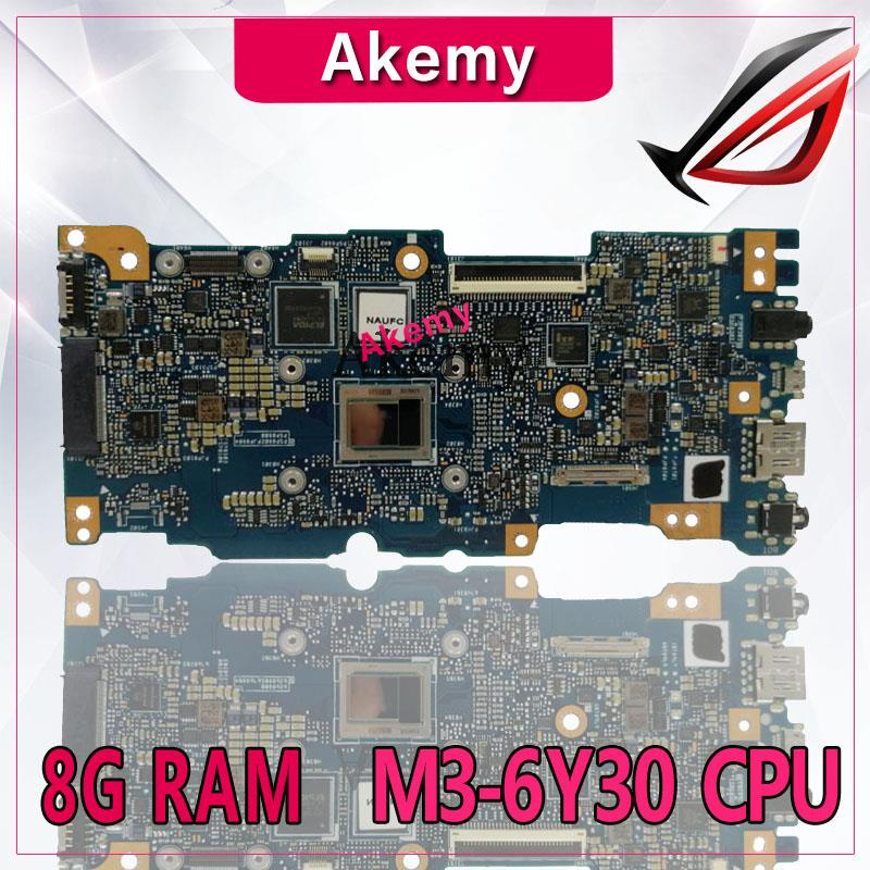 Akemy ZenBook UX305CA اللوحة الأم للكمبيوتر المحمول For Asus UX305CA UX305C UX305 U305C اختبار اللوحة الرئيسية الأصلية 8G RAM M3-6Y30 وحدة المعالجة المركزية