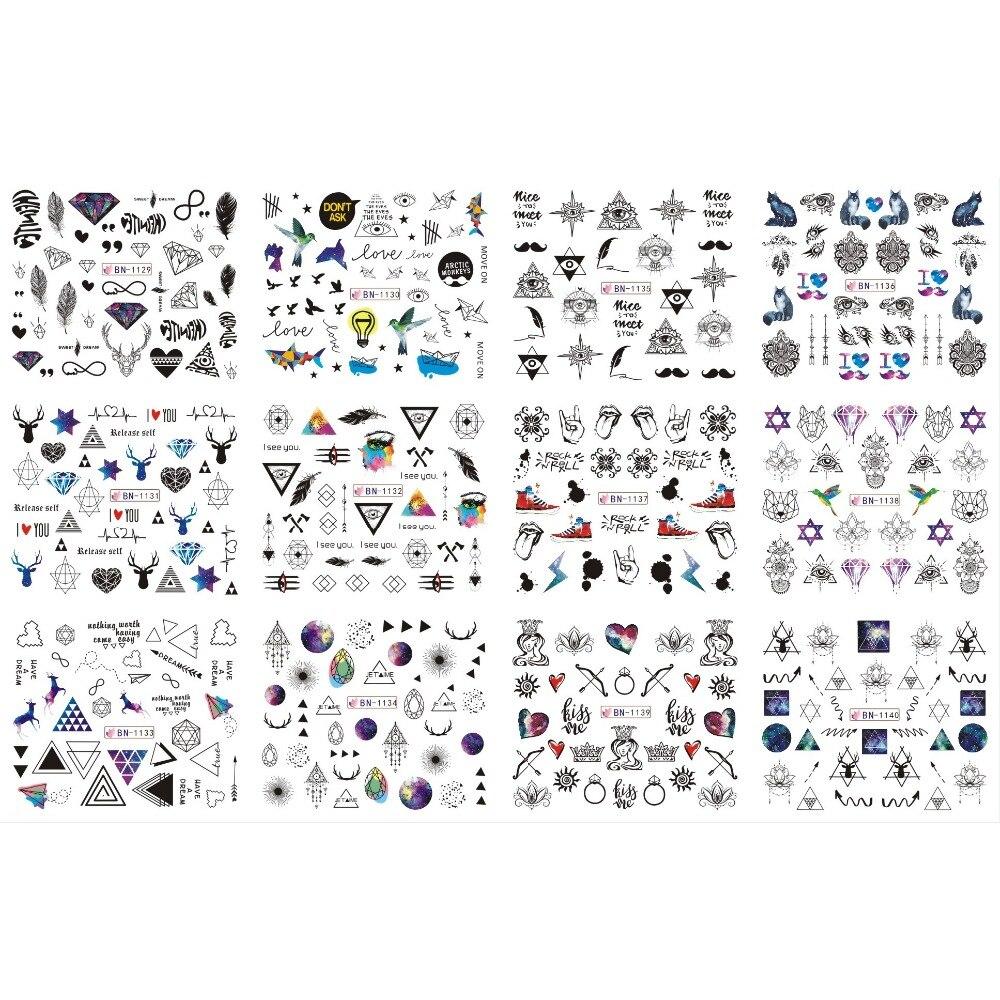 UPRETTEGO 12 pack/lote calcomanía de agua para uñas pegatina de uñas cubierta completa geometría triángulo ojo ciervo signo TRIBAL arco flecha BN1129-1140
