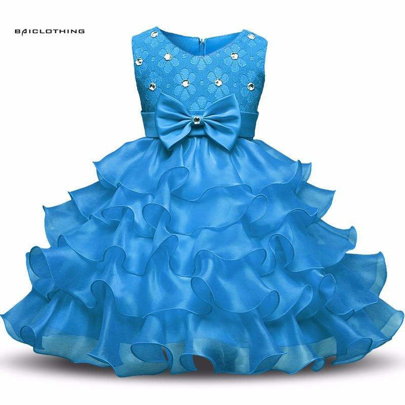 Vestido da menina de 2017 de Diamante-Border Crianças Vestidos Roupas Das Meninas Do Partido Da Princesa Vestidos Nina batismo Vestido De Aniversário Do Natal 9 cores