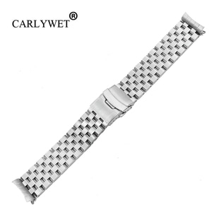 CARLYWET 22mm Silver Hollow Curved End Solid Links Replacement Watch Band Strap Bracelet Double Push Clasp For Seiko