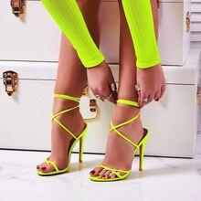 11.5 เซนติเมตรวิจิตรรองเท้าส้นสูงรองเท้าแตะรองเท้าข้ามผูกสายรัดข้อเท้าฤดูร้อนรองเท้าแตะรอ...