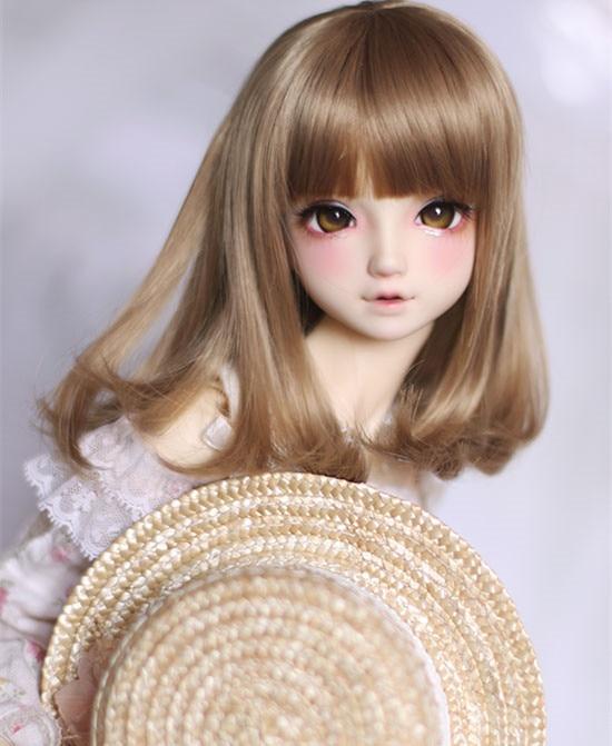 Perucas boneca BJD marrom Claro cor pêra encaracolado perucas fio de alta temperatura para 1/3 boneca 1/4 BJD boneca DD DY acessórios boneca perucas