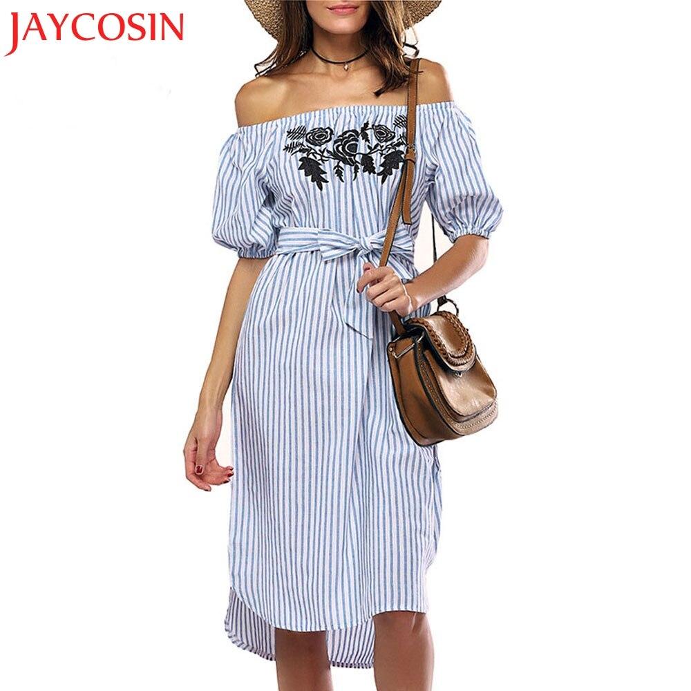 Jaycosin 2020 recém-quente mulheres fora do ombro vestido de manga curta slash neck listrado casual vestido dropshipping freeshipping 30p