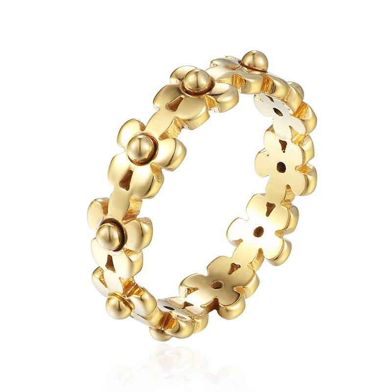 Hohe Qualität Edelstahl Wenig Chrysantheme Verbunden Exquisite Ring Für Frauen Daisy Ringe Für Liebhaber Geschenk Geschenk Schmuck