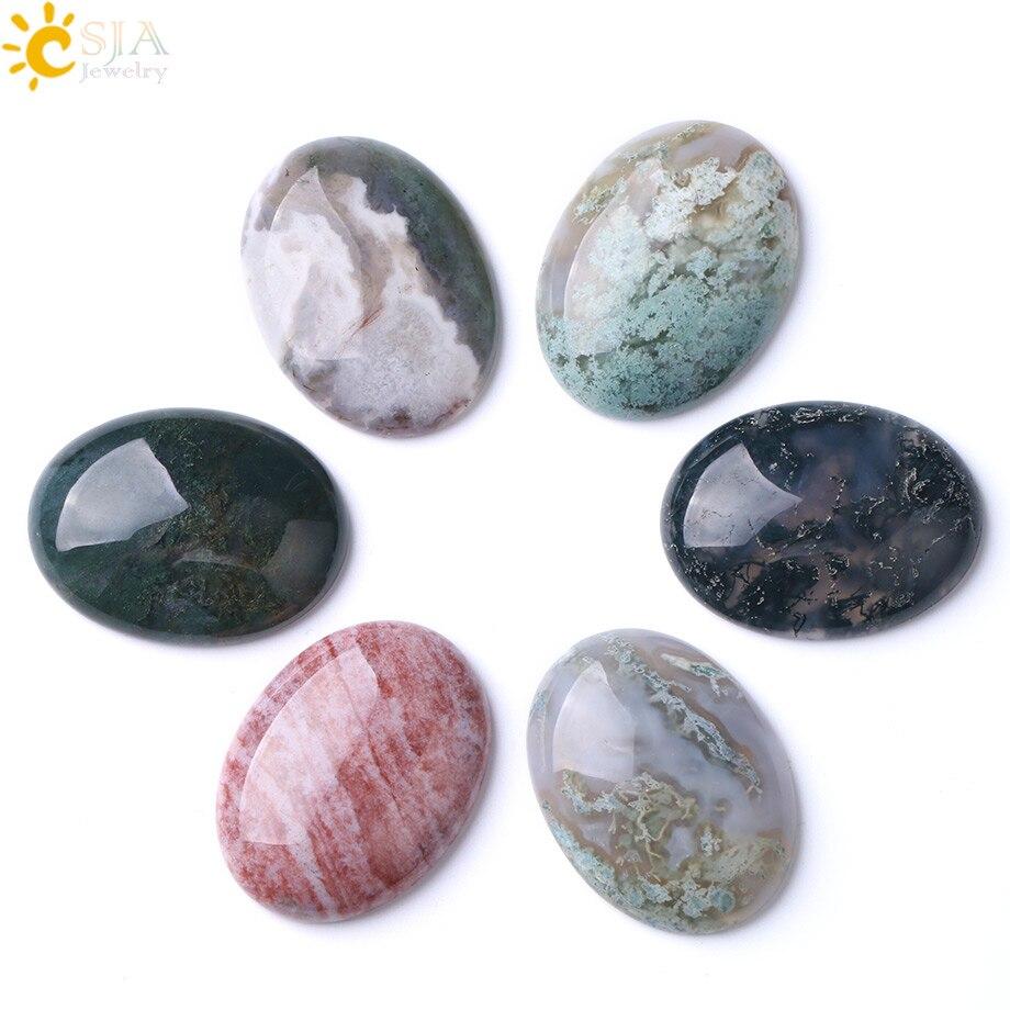 CSJA ovaladas naturales suelto de la piedra de la gema No agujero de taladro ágatas indias de taxi cuentas para los hombres y las mujeres de la joyería hecha a mano de F271