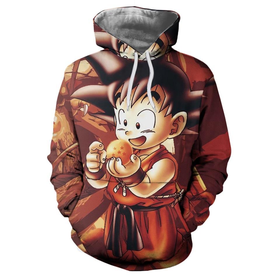 Anime Hoodies Dragon Ball Z Pocket Gohan Hooded Sweatshirts Kid Goku 3D Hoodies Pullovers Men Women Long Sleeve Outerwear Hoodie