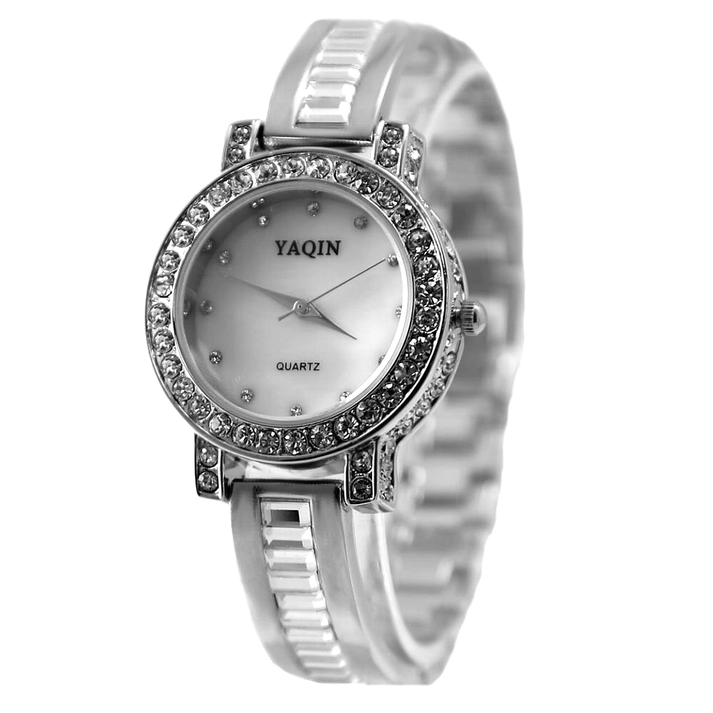 Luxury Brand Women Fashion Analog Quartz Round Watch Japan PC21J Movement Shiny Silver Metal Band White Dial enlarge
