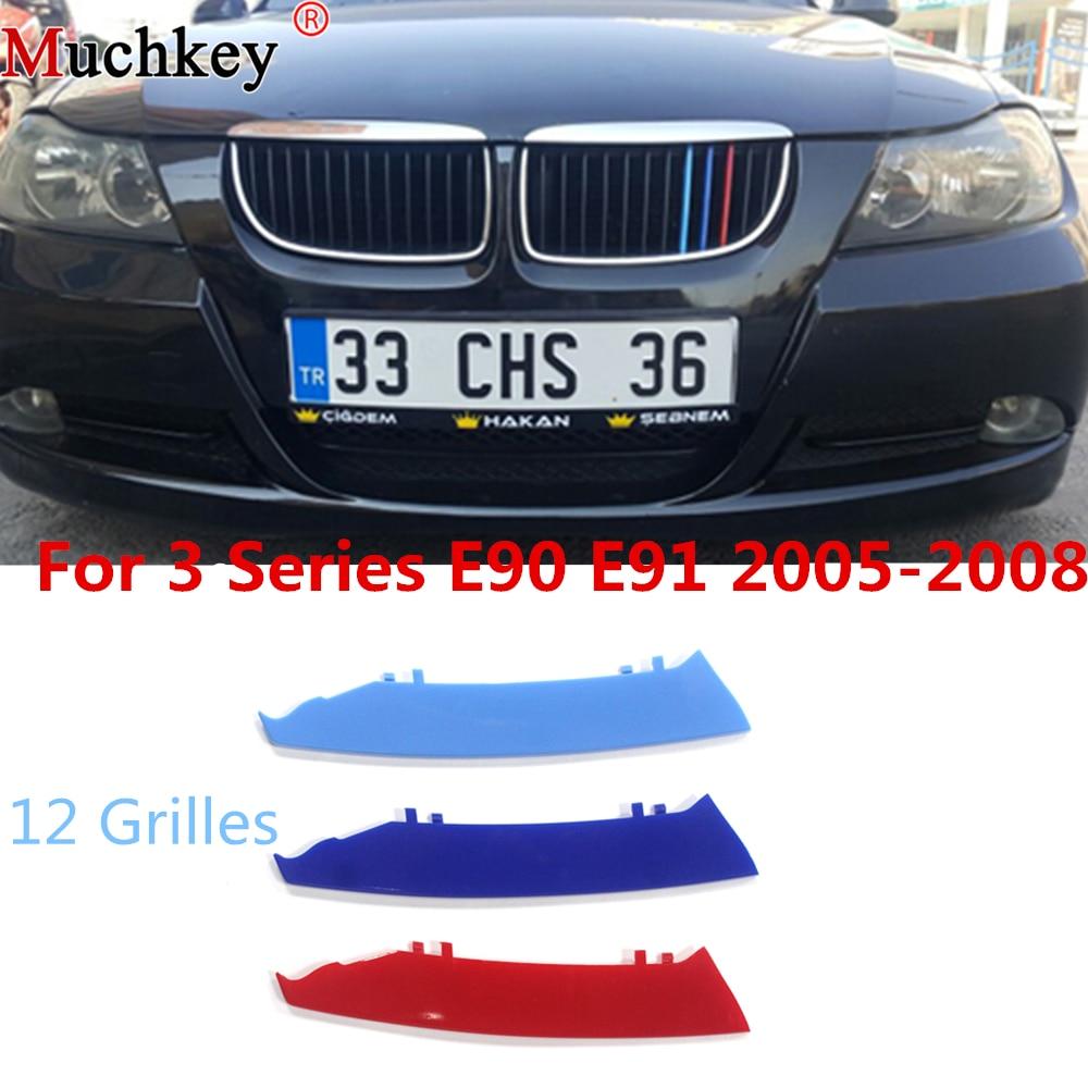 Автомобильная передняя решетка отделка полоски Гриль Крышка наклейка для BMW 3 серии 2005 до 2008 E90 E91 320 325 330 335 12 решетки 3D M Стайлинг
