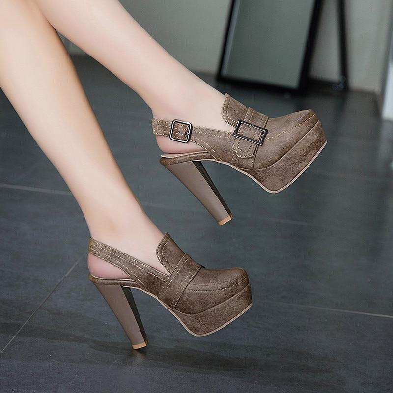 YMECHIC 2019 Vintage Khaki Black Platform Spike High Heels Buckle Retro Ladies Slingbacks Daily Womens Shoes Heels Pumps Summer