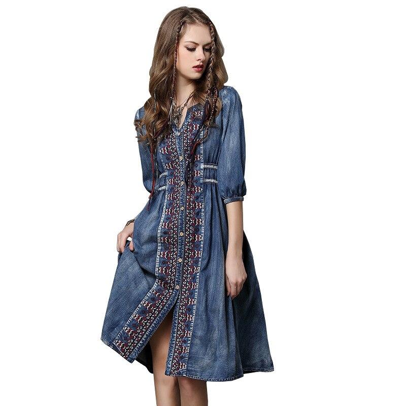 Brand women's spring/summer 2020 spring new denim dress plus size indie folk embroidery rope mendium sleeve dress long dress