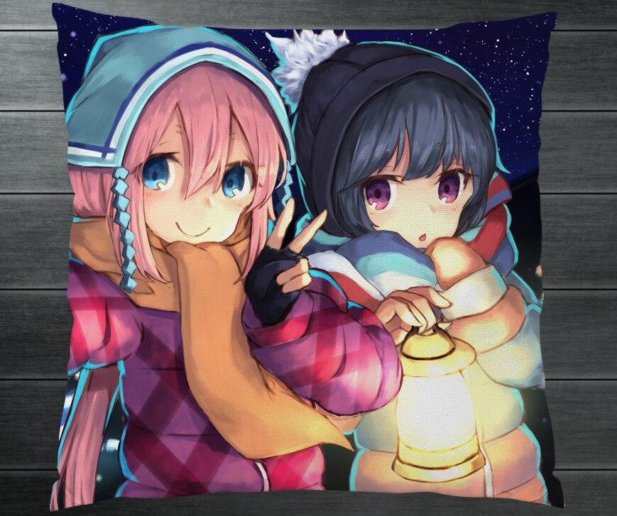 Laid-Back Camp Yuru Camp Nadeshiko Kagamihara Rin Shima Two Sides Pillowcase Fanart Pillow Cushion Case Cover Cosplay Gift P16