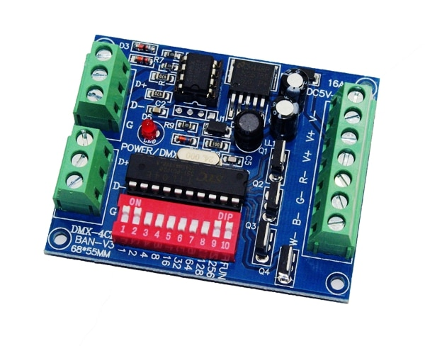 4CH Dmx 512 Decodificador RGBW DMX Fácil, Dimmer, Controlador, Drive, DC5V-24V para RGBW LED Luz de Tira, lâmpada WS-DMX-4CH-BAN-V3