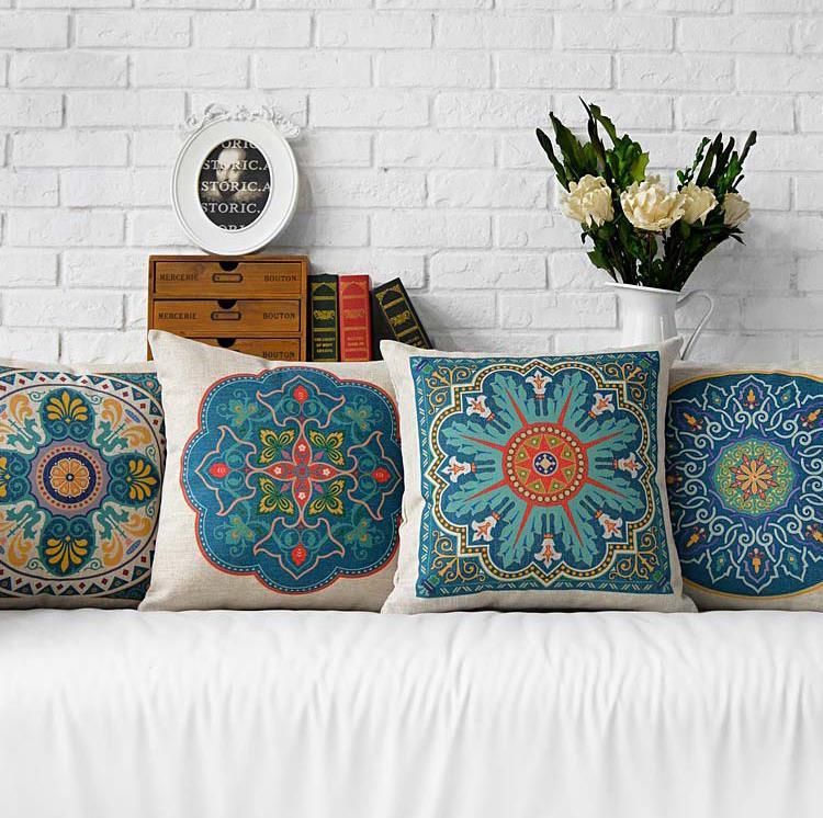 Vintage azul Floral Fundas de cojín de lino de algodón flor decorativo funda de cojínes decorativos sofá cojines decorativos