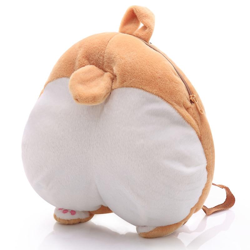 1pc 38cm*36cm Plush Corgi Backpack Cute Pet Dog Plush Children's School Bags Creative Gift for Kids