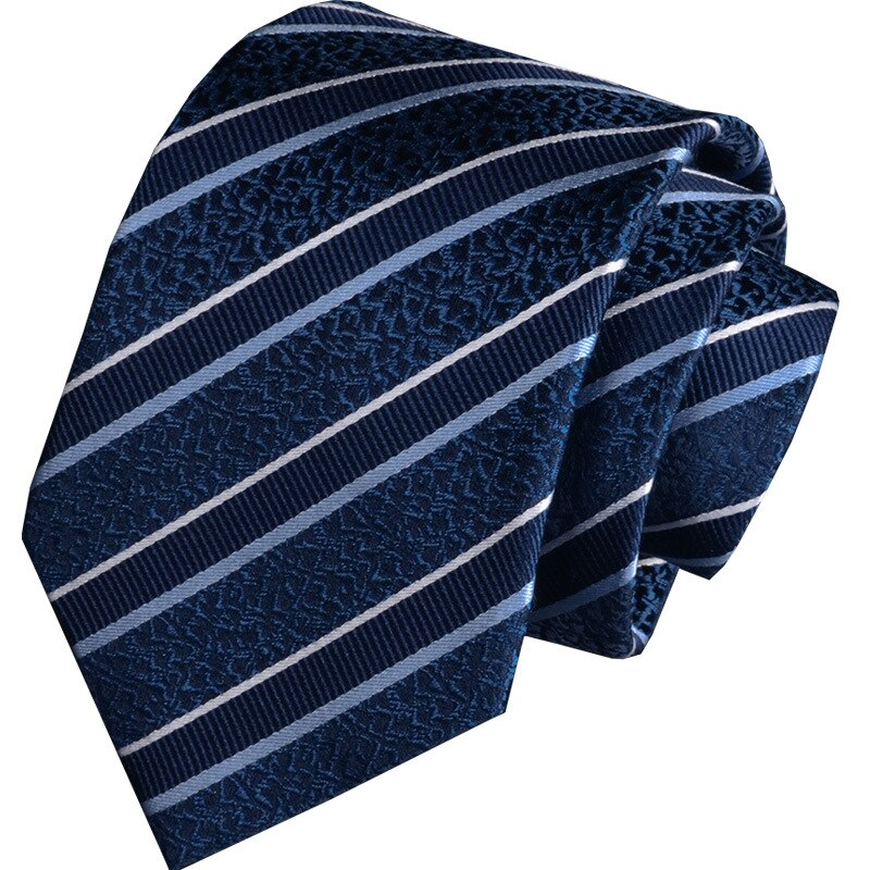 8CM New 100% NATURAL SILK Tie For Men Ties Necktie Genuine Silk Man Tie Stripes Blue Red Black Vocational Groom Wedding Party