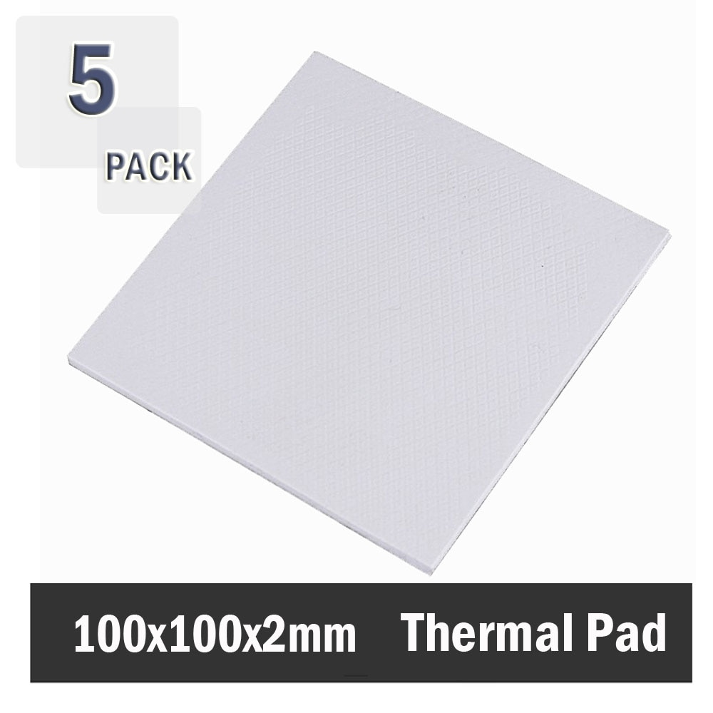 5Pcs 100x100x2mm White 2mm thickness Thermal Pad Computer Chip Conductive Cooling 2mm Heatsink Thermal Pad