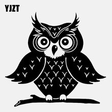 YJZT 13.3CM*12.9CM Cartoon Big Eyebrow Owl  Silhouette Motorcycle Vinyl Black/Silver  Car Sticker  C22-1008